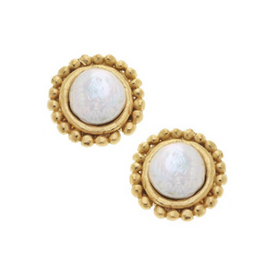Gold with Coin Pearl Pierced Earrings