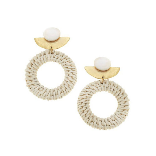 Gold Genuine Mother of Pearl and Round Rattan Earrings