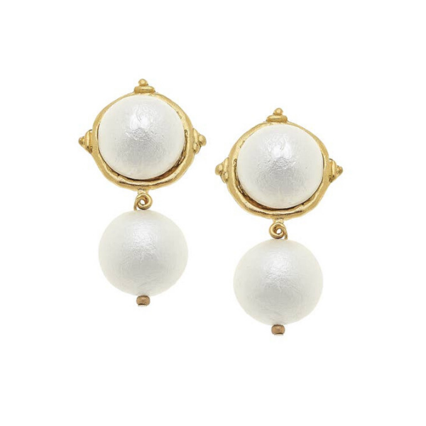 Gold Cotton Pearl Cab with Cotton Pearl Drop Earrings