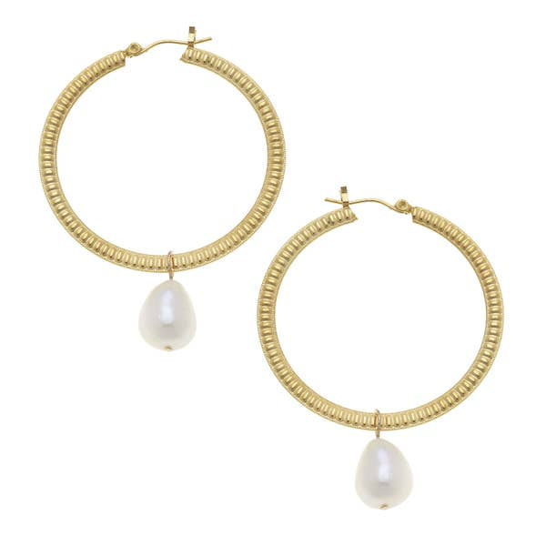 Gold Hoop with Genuine Freshwater Pearl Earrings