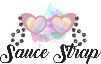 heart shaped sunglasses with glass bead sunglass chain saying Sauce Strap in cursive underneath