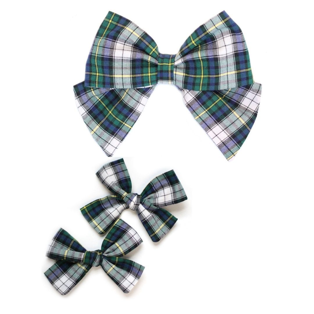 Green and Blue Tartan Hair Bow