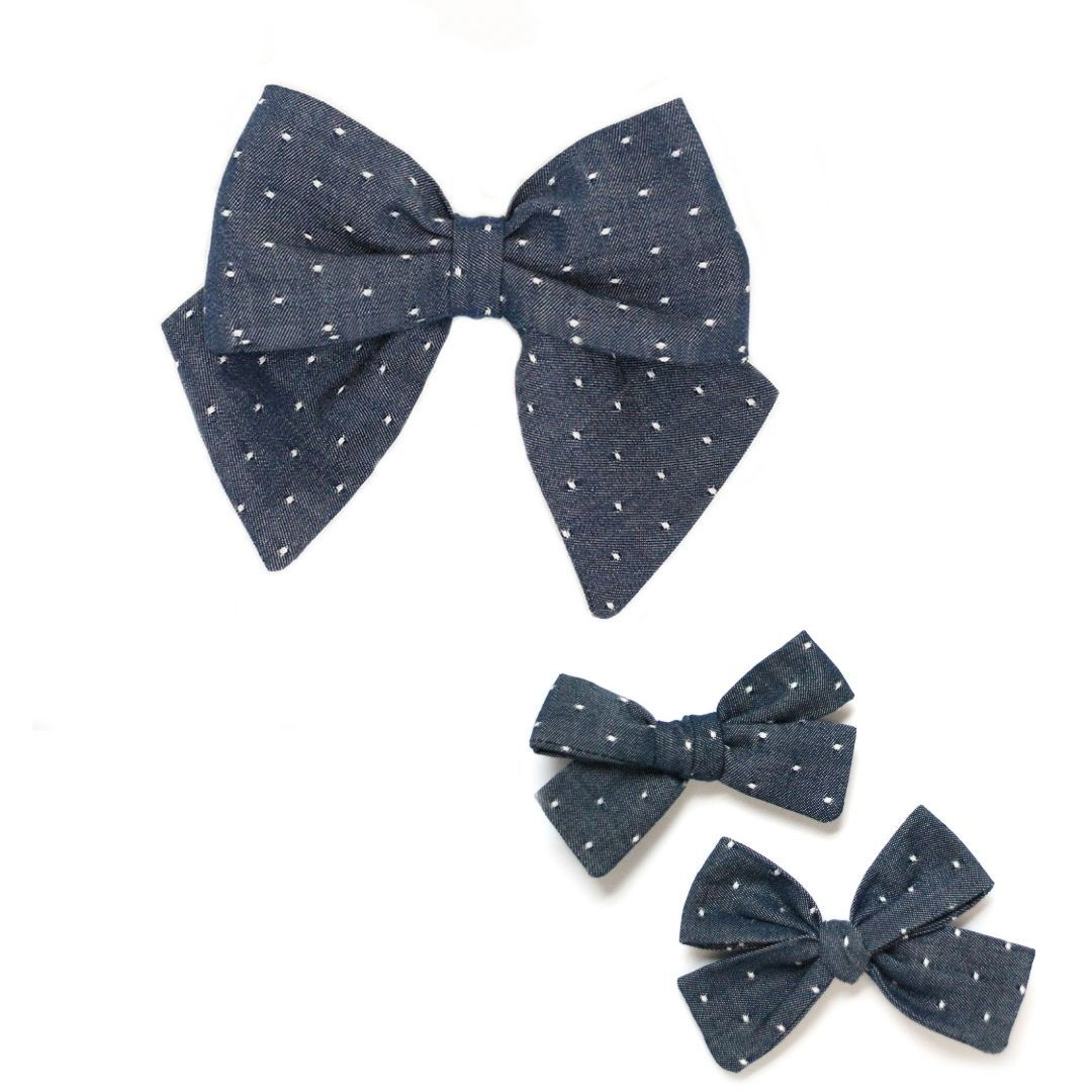 Blue Chambray Dot Hair Bow