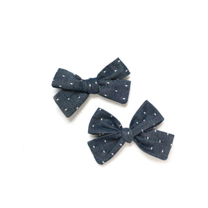Open image in slideshow, Blue Chambray Dot Hair Bow