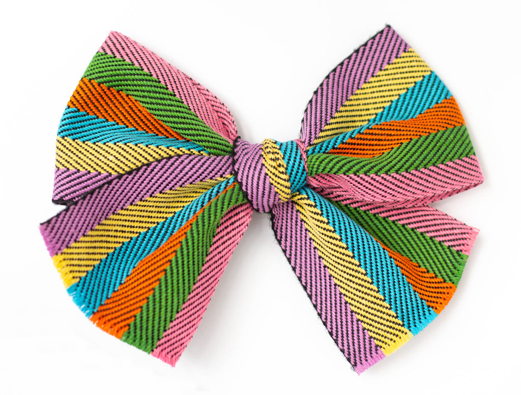 Rainbow Hairbow purple, yellow, blue, orange, green, pink