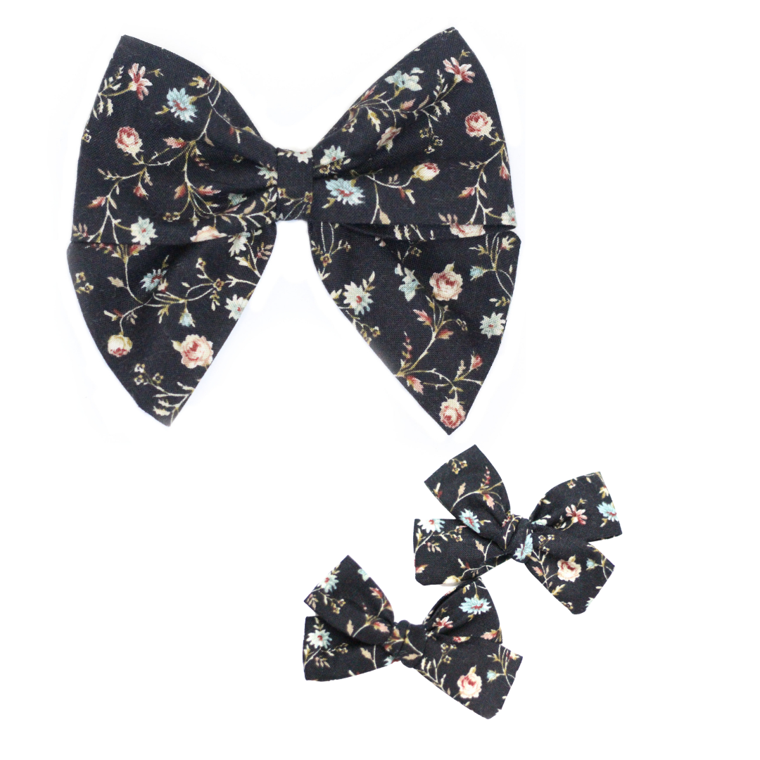 Black Floral Hair Bow