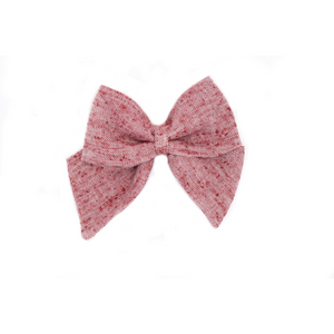 Open image in slideshow, Pulled Red Chambray Hair Bow