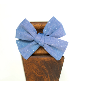 Open image in slideshow, Light Blue Chambray Dot Hair Bows