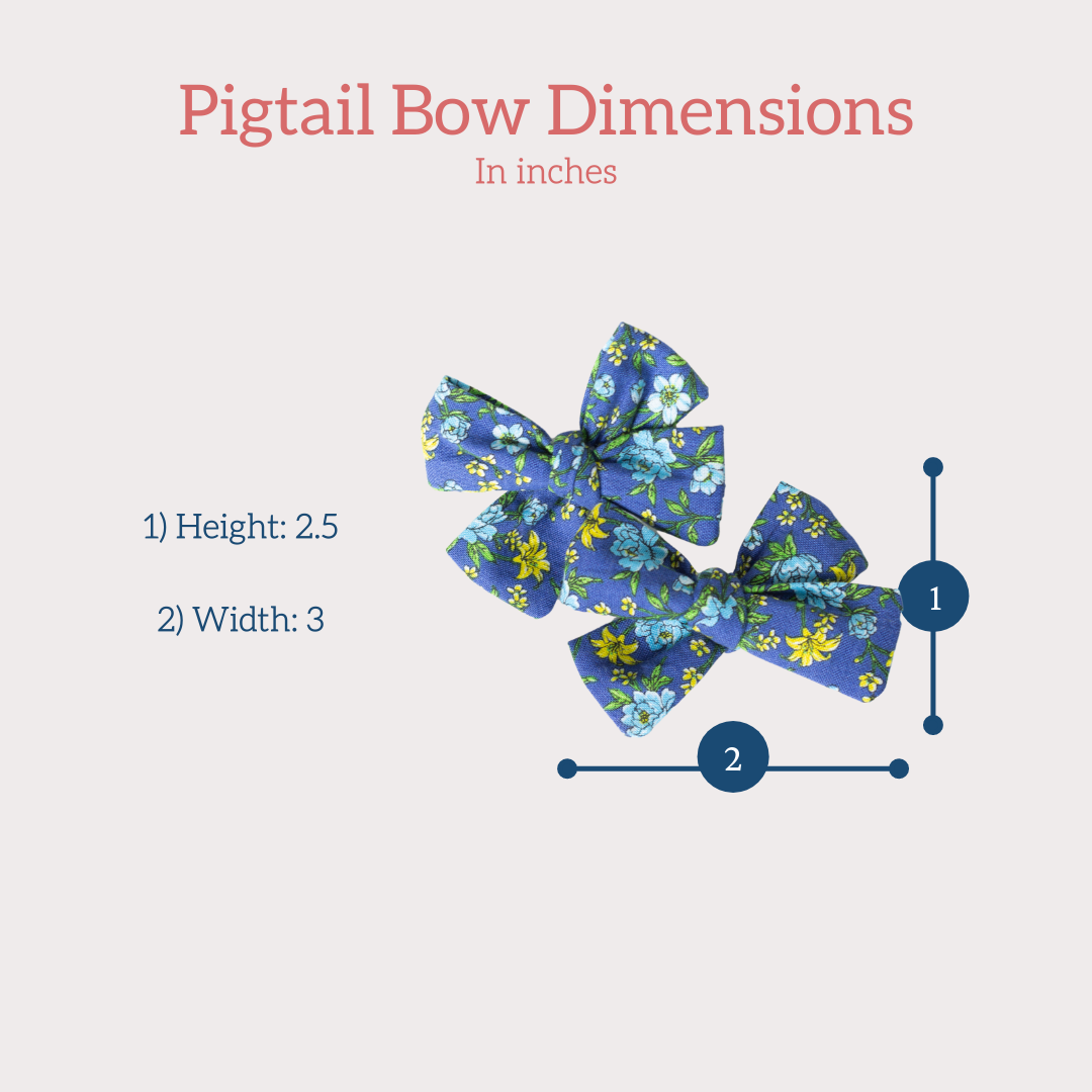 pigtail hair bow size dimensions