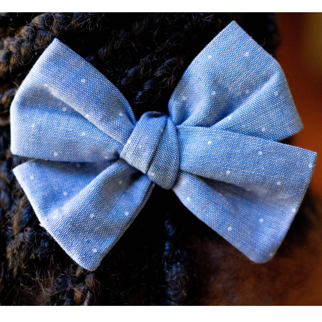 Light Blue Chambray white Dot hair bow girls hairstyle