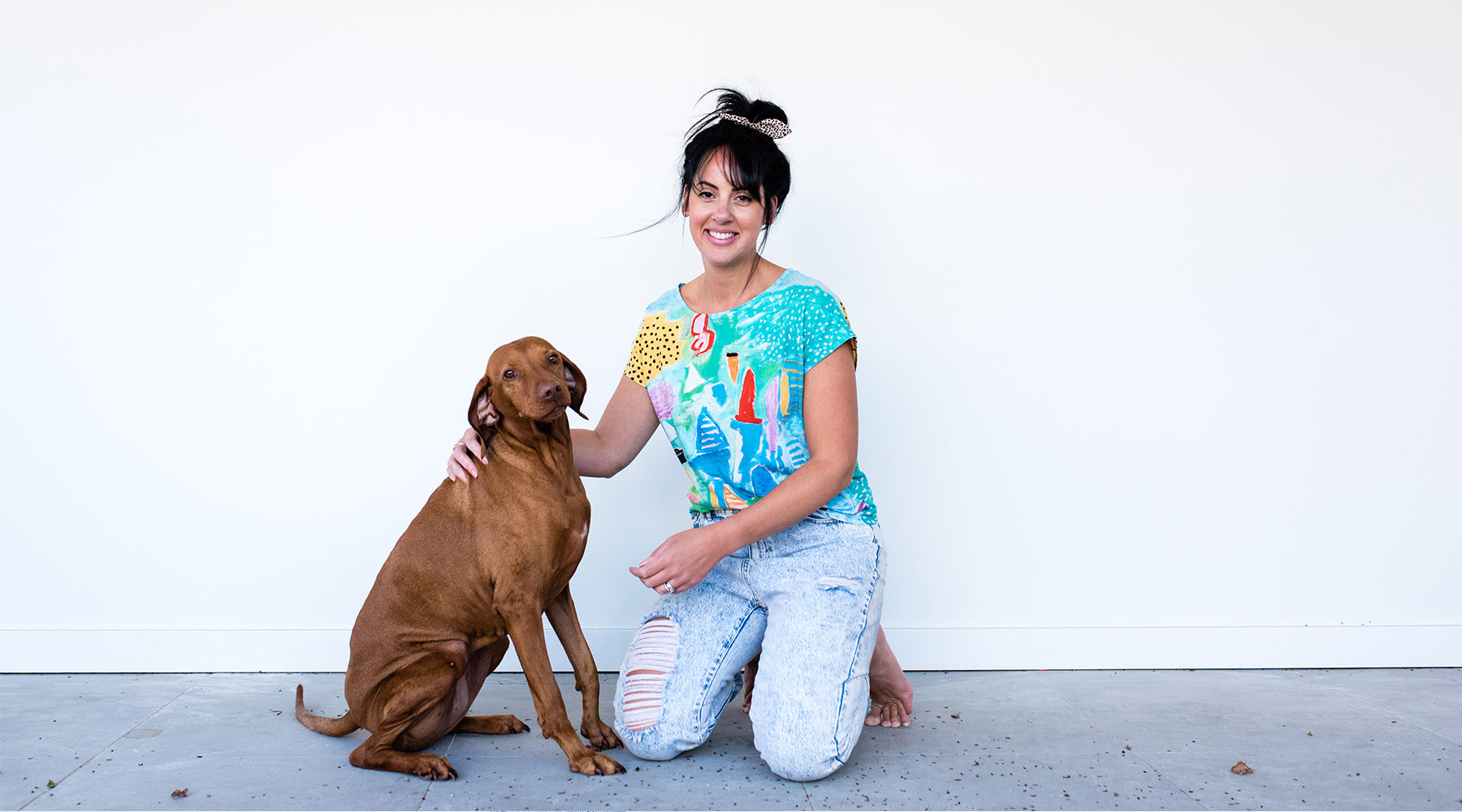 Deb McNaughton Artist - Deb and her dog - Commission me to create am original piece of art - Melbourne