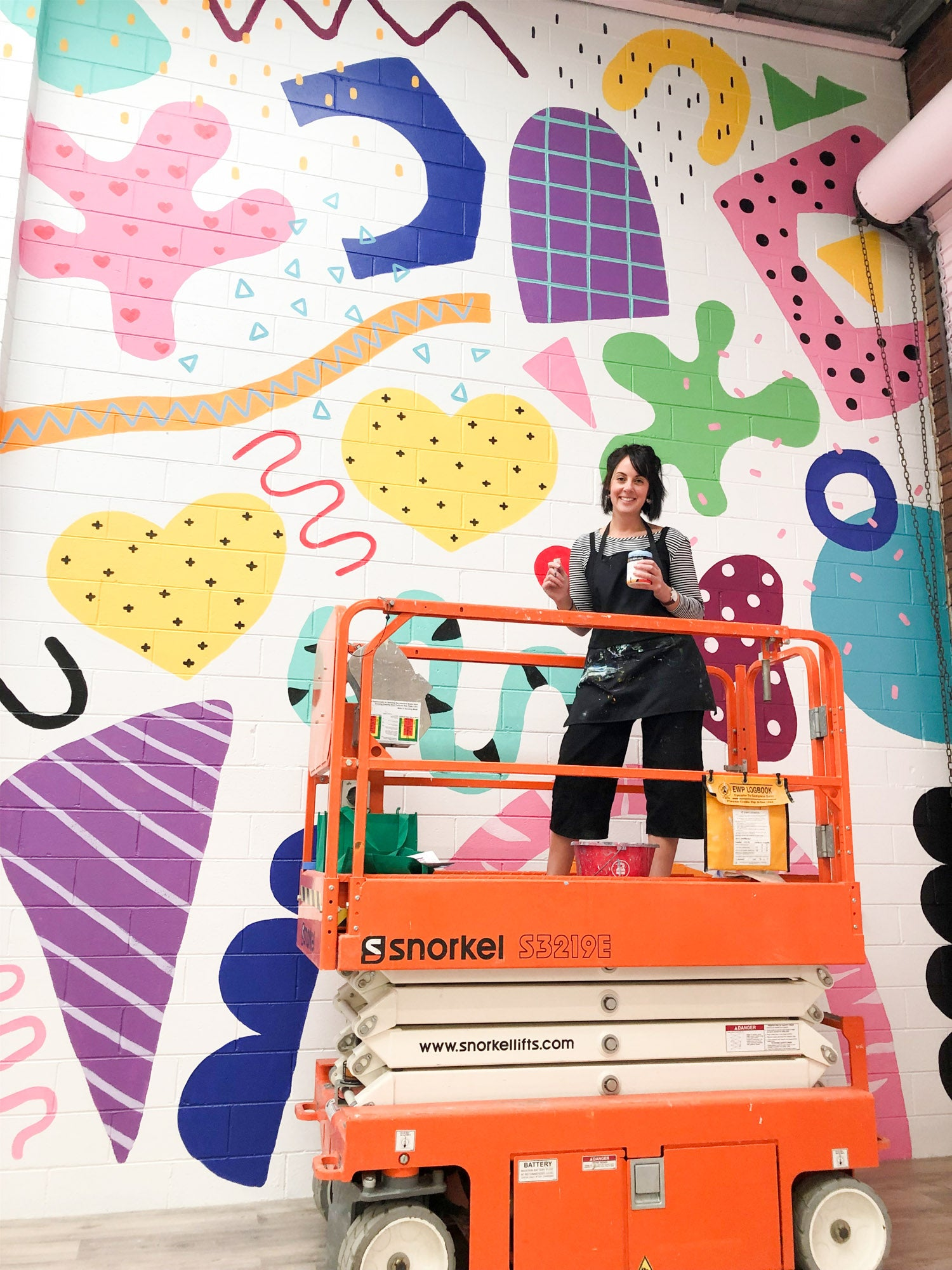 Deb McNaughton Artist - finished work- Massive wall mural - painting on forklift - Sweetsticks -  Melbourne