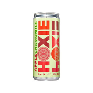 Hoxie Spritzer. Apple Chamomile. Natural wine spritzer made with white wine, water, natural extracts and botanicals, carbonated to bubbly spritz perfection. 250ml Can, 5% ABV, 90 Calories, Gluten Free, Vegan, 100% Recyclable.