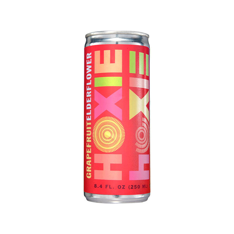 Hoxie Spritzer. Grapefruit Elderflower. Natural wine spritzer made with white wine, water, natural extracts and botanicals, carbonated to bubbly spritz perfection. 250ml Can, 5% ABV, 90 Calories, Gluten Free, Vegan, 100% Recyclable.