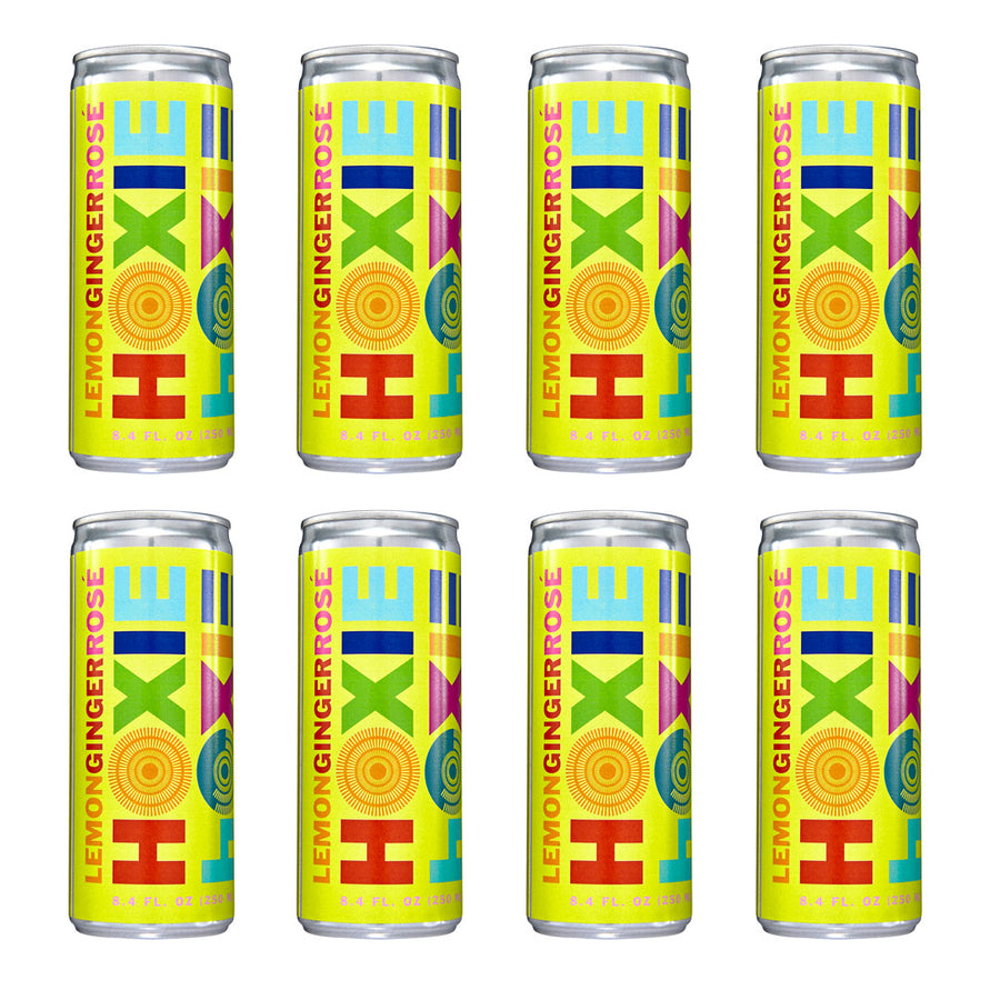 Hoxie Spritzer. Lemon Ginger Rosé. Natural wine spritzer made with rosé wine, water, natural extracts and botanicals, carbonated to bubbly spritz perfection. 250ml Can, 5% ABV, 90 Calories, Gluten Free, Vegan, 100% Recyclable.