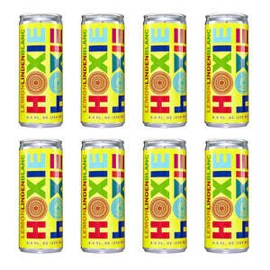 Hoxie Spritzer. Lemon Linden Blanc. AKA Linden Blossom. Natural wine spritzer made with white wine, water, natural extracts and botanicals, carbonated to bubbly spritz perfection. 250ml Can, 5% ABV, 90 Calories, Gluten Free, Vegan, 100% Recyclable.