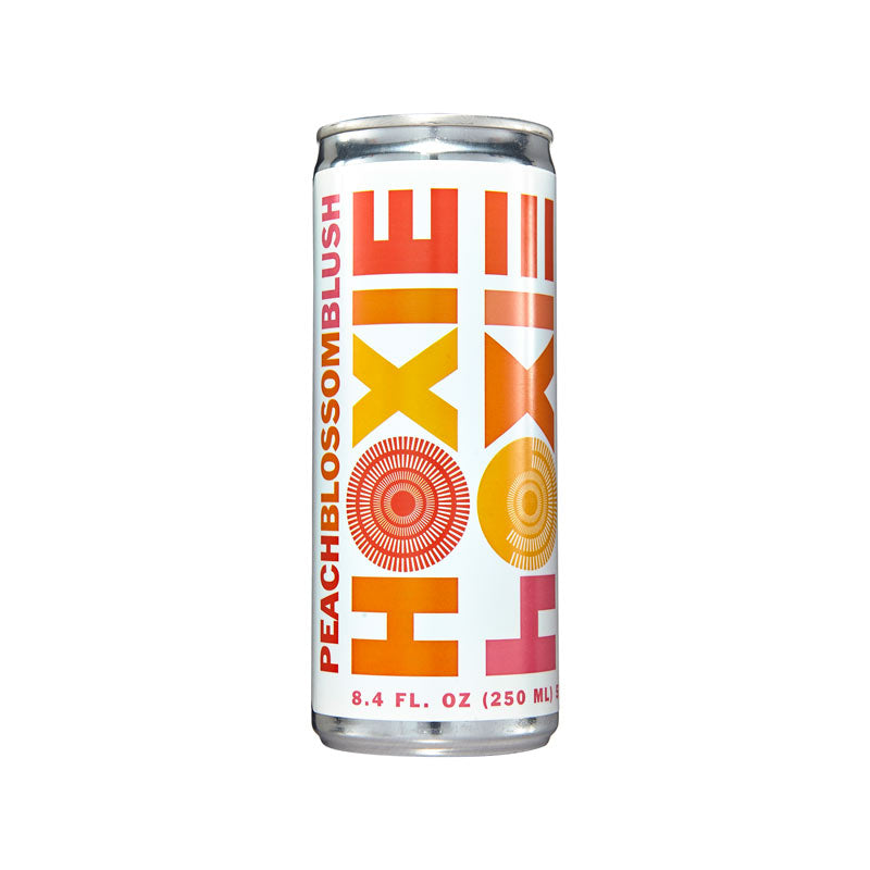 Hoxie Spritzer. Peach Blossom Blush (AKA Peach Blossom Rosé. Natural wine spritzer made with rosé wine, water, natural extracts and botanicals, carbonated to bubbly spritz perfection. 250ml Can, 5% ABV, 90 Calories, Gluten Free, Vegan, 100% Recyclable.