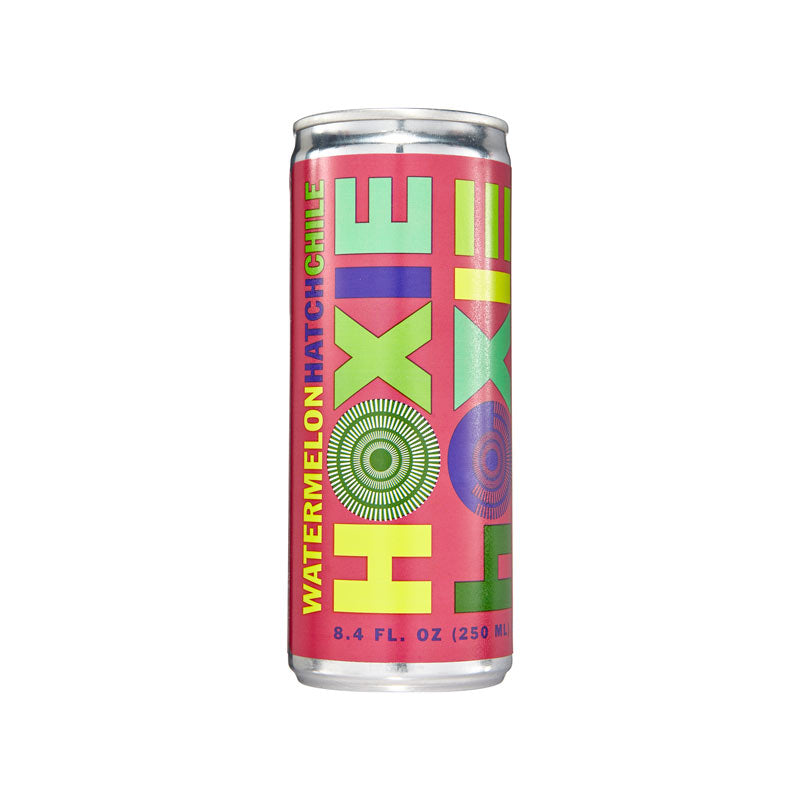Hoxie Spritzer. Watermelon Hatch Chile. Natural wine spritzer made with white wine, water, natural extracts and botanicals, carbonated to bubbly spritz perfection. 250ml Can, 5% ABV, 90 Calories, Gluten Free, Vegan, 100% Recyclable.
