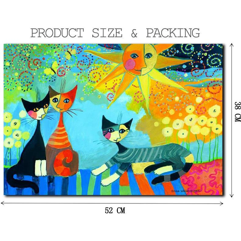 Moon Cats - Wooden Jigsaw Puzzle 500 1000 1500 Pieces Purfect Puzzles