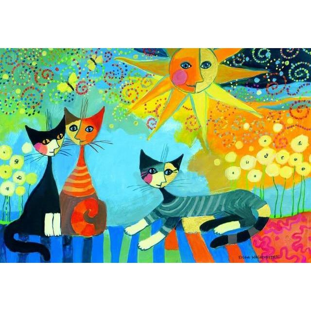 Moon Cats - Wooden Jigsaw Puzzle 500 1000 1500 Pieces Purfect Puzzles Puzzles 1000