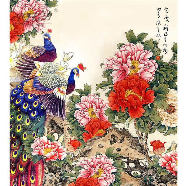 Peacocks and Peonies - 500 Piece Wooden Jigsaw Puzzle Purfect Puzzles