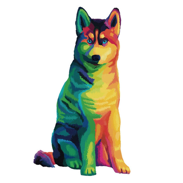 Rainbow Dog - Irregular Shaped Wooden Jigsaw Puzzle Purfect Puzzles