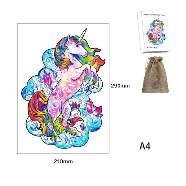 Rainbow Unicorn - Irregular-Shaped Wooden Animal Jigsaw Puzzles Purfect Puzzles Unicorn A4