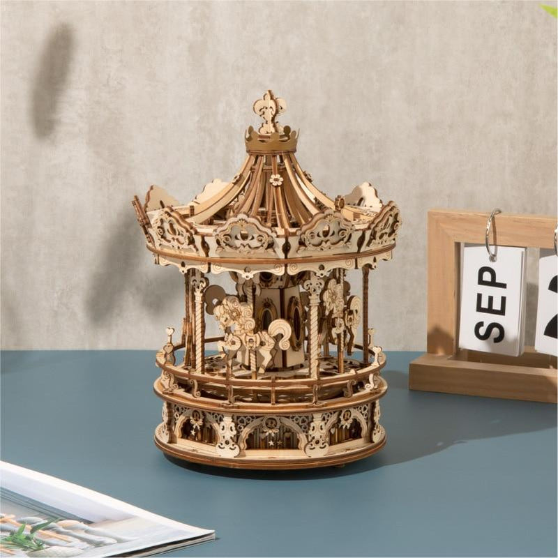Romantic Carousel - 336pcs Rotatable 3D Wooden Music Box Puzzle Purfect Puzzles