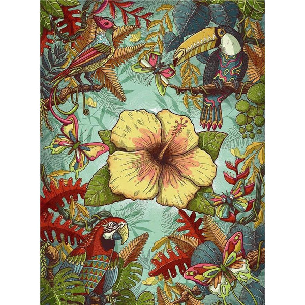 Tropical Birds - 500 Piece Wooden Jigsaw Puzzle Purfect Puzzles