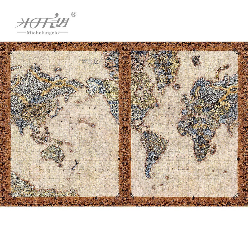 World Map Collage - Wooden Jigsaw Puzzle 1000 1500 2000 Pieces Purfect Puzzles