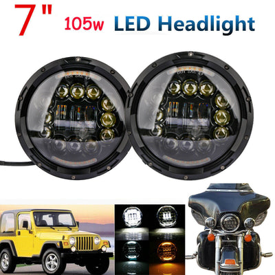 "2x 7/"" 105W LED Headlight Assembly Hi//Lo Beam DRL Switchback for Jeep Wrangler JK"