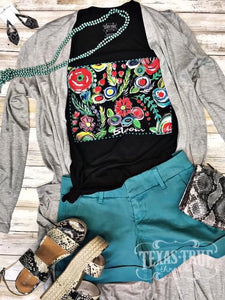 Gray T-Shirt Cardigan