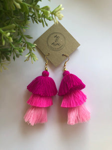 3 Tier Tassel Earrings - Ombré Pink