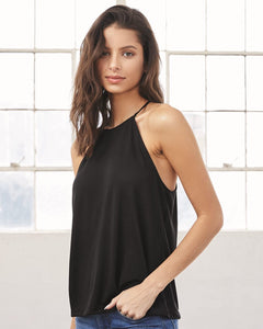 Flowy High Neck Black Tank