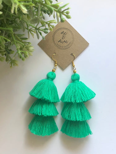 3 Tier Tassel Earrings - Mint Green