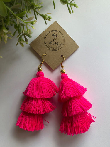 3 Tier Tassel Earrings - Hot Pink