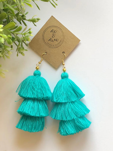 3 Tier Tassel Earrings - Turquoise