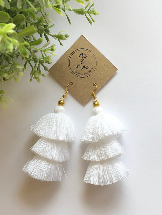 3 Tier Tassel Earrings - White
