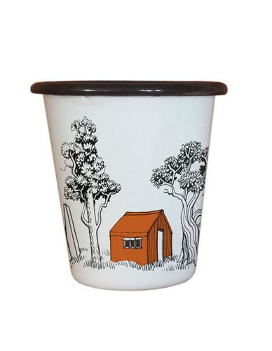 Enamel Tumbler - Back Country Huts - Found My Way Invercargill