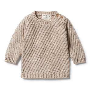 Wilson & Frenchy | Knitted Jacquard Jumper - Oatmeal Fleck - Found My Way Invercargill