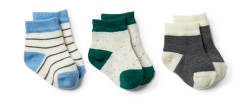 Wilson & Frenchy | Baby Socks 3 Pack - Storm Grey, Faded Denim & Fern - Found My Way Invercargill