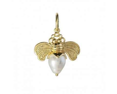 Bee Brave Golden Honeypearl Charm - Gold Plated