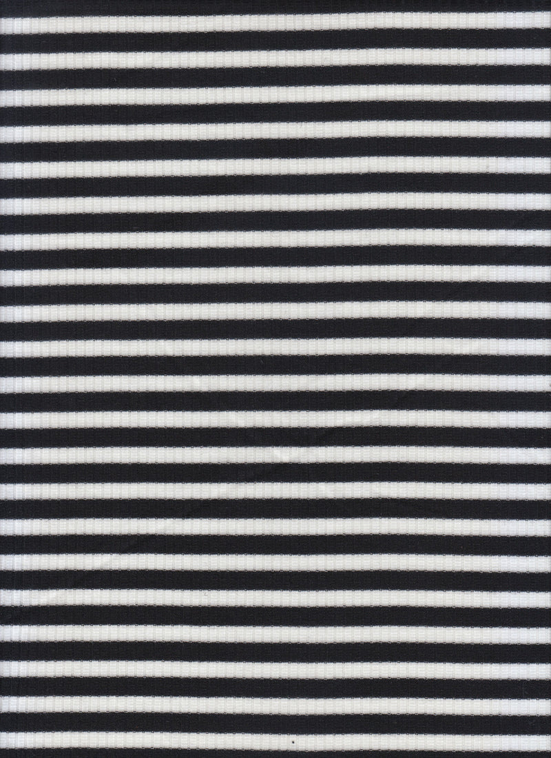 KNT3424 -BLACK/IVORY  YARN DYED KNIT