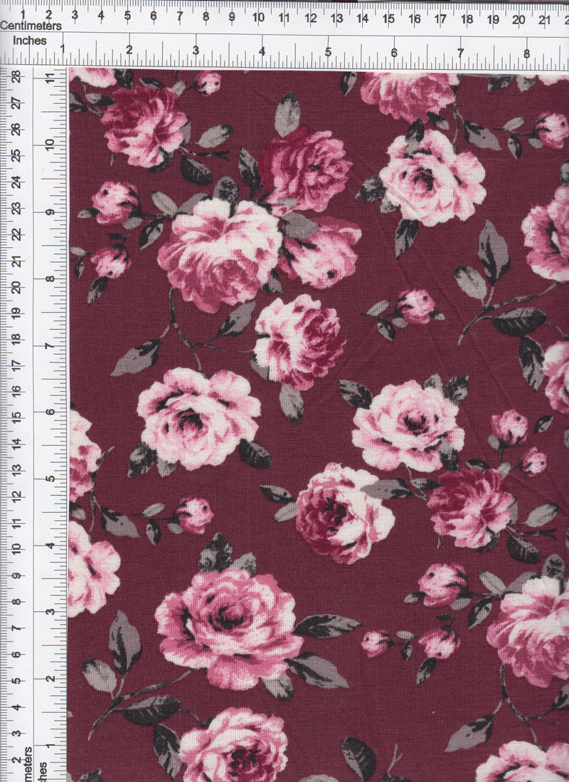 KNT1327-SR71073 -BURGUNDY/ROSE FLOWER, FLORAL PRINT KNIT