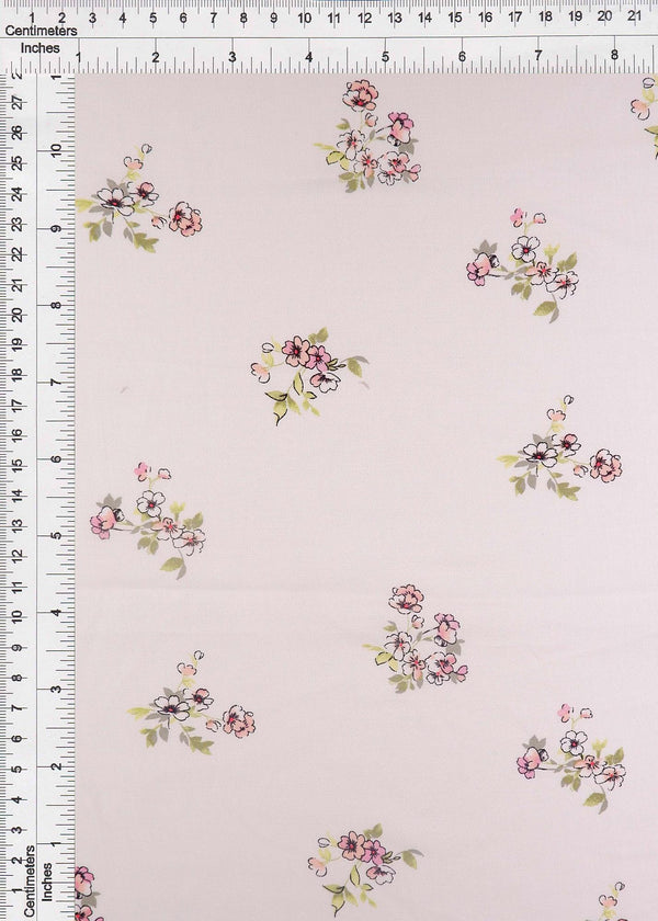 POP948-Q90953 -IVORY FLOWER, FLORAL PRINT WOVEN