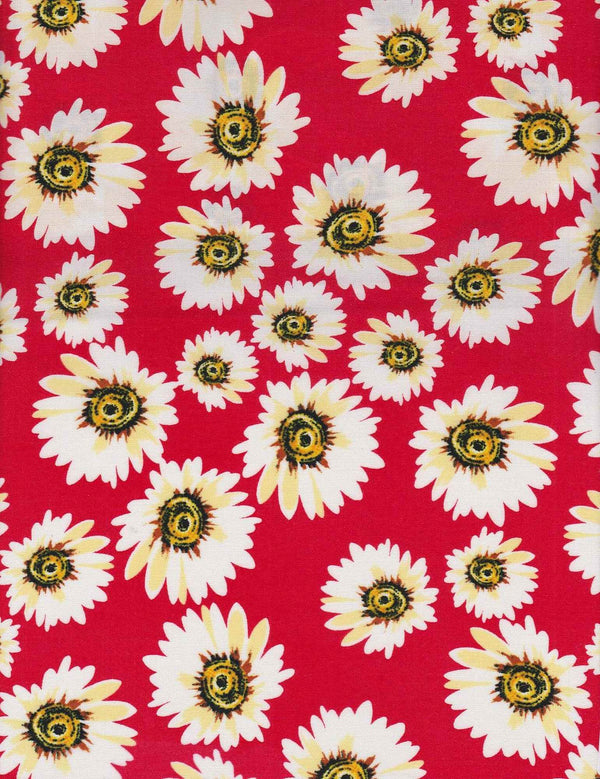 POP948-SE309167 -RED FLOWER, FLORAL PRINT WOVEN