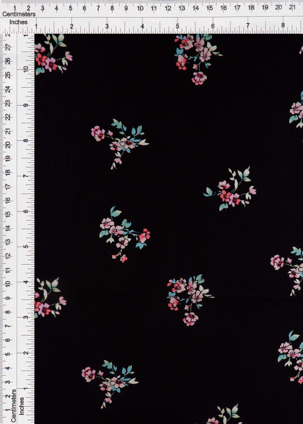POP948-Q90953 -BLACK FLOWER, FLORAL PRINT WOVEN