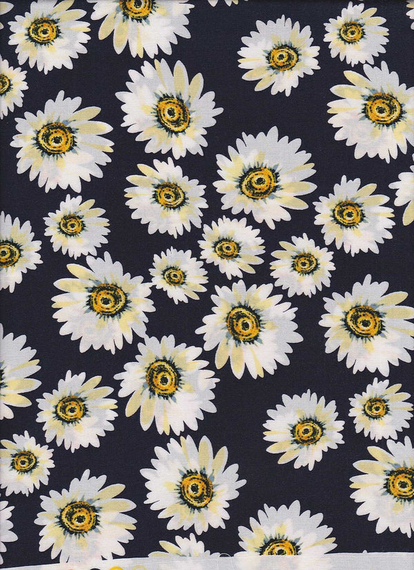 POP948-SE309167 -NAVY FLOWER, FLORAL PRINT WOVEN