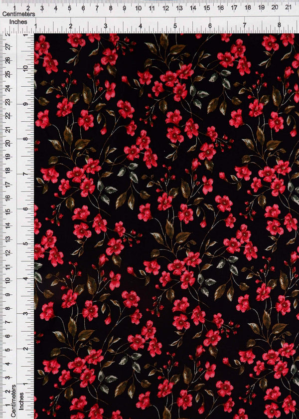 POP948-Q90951 -BLACK DITSY, FLOWER, FLORAL PRINT WOVEN