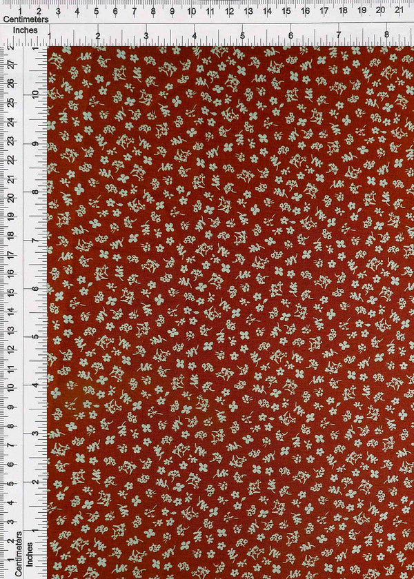 POP948-DU1942 -RUST DITSY, FLOWER, FLORAL PRINT WOVEN